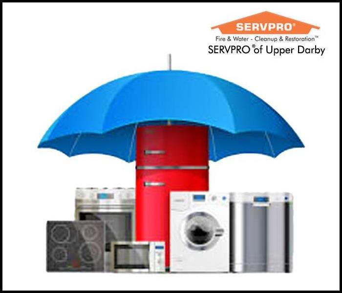 Blue umbrella over appliances